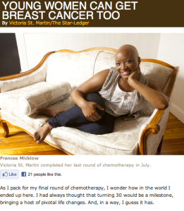 """""""Young Women Can Get Breast Cancer, Too"""" in the October issue of Inside Jersey"""