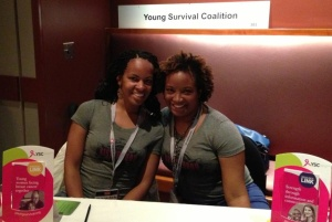 Vickie and Meredith at the Young Survival Coalition table at the 2013 Stupid Cancer Summit in Las Vegas.